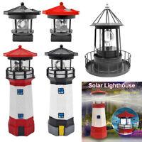 LED Solar Leuchtturm Statue Rotierenden Licht Garten Hof Dekor Beleuchtung Lampe