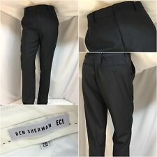 Ben Sherman EC 1 Pants 36x32 Blue Wool Poly Flat Front Slim Worn 1x YGI 9369