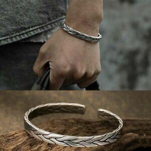 Mens 925 Sterling Silver Thai Handmade Vintage Open Bangle Twisted Cuff Bracelet