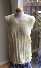 VINTAGE HAND KNITTED CREAM TANK TOP SCALLOPED EDGE SIZE M