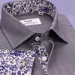 Black Plaids & Checks Formal Business Dress Shirt Sexy Blue Floral Design Top