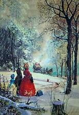 Vintage people Waiting for a Horse Driven Coach in Winter Christmas