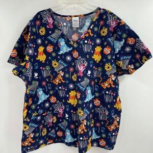 Disney Winnie the Pooh Graphic scrubs shirt women's Size 2XL