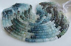 """7"""" strand shaded MOSS AQUAMARINE faceted gem stone rondelle beads 5mm blue green"""