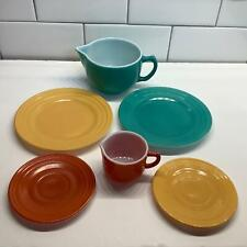 Lot/6 Vtg Little Hostess Teapot Creamer Plates Saucers Moderntone Hazel Atlas