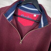 Robert Graham 1/2 Zip Cotton Pullover Sweater Red Men's Size XXL Classic Fit