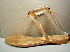 Alexander McQueen 36.5 Skull & Chain Gold Leather T-Strap Thong Flat Sandals New