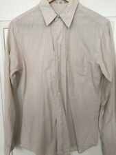 Save Khaki Mens Shirt Size XS to S (36-38 Chest), Tan and Cream vertical stripes