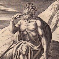 Gravure XVIIIe Cyclope Polyphène Ulysse Achéménide Anthropophagie Πολύφημος