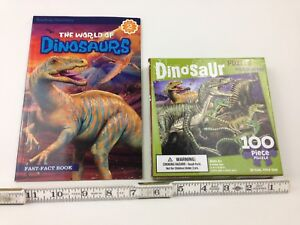 Small Kids Dinosaur 100 piece puzzle and Educational Fun Book lot Dinosaurs New