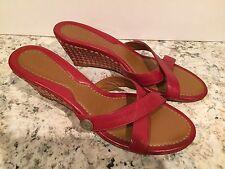 Cole Haan Sandals Wedge Slides Leather Cork Dark Red 9.5 B