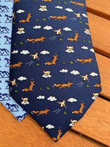 Authentic Classic & Timeless Whimsical Hermes Animal Print Ties Orange Sleeve