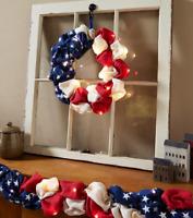 Front Door Wreath Patriotic Wall Decor Burlap American Flag Lighted Country Art