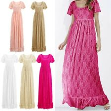 Maternity Maxi Dress Pleated Lace Gown Short Sleeve Photography Wedding Formal