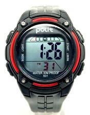 NEW Polit Kids Sports Digital Watch BLACK RED Shockproof Waterproof Alarm