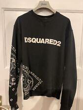 Dsquared2 Black Sweater Pullover Pulli Medium Black Bandana Print