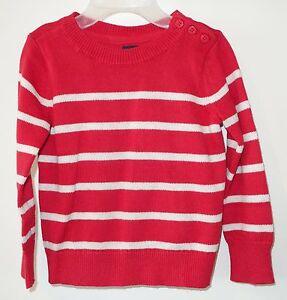 Brand New Gap Kids Breton Red Heather Pullover Sweater Boy's Small / 6-7