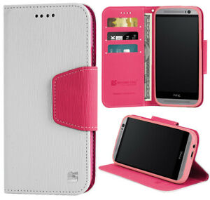 WHITE PINK INFOLIO WALLET CREDIT CARD ID CASH CASE STAND FOR HTC ONE M8 (2014)