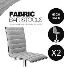 Grey 2x Fabric Bar Stools Swivel Chair Gas Lift Dining Kitchen 126