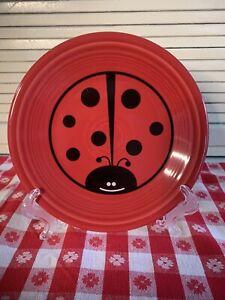 "Homer Laughlin FIESTA ware Lady Bug 7"" Lunch Dessert Salad Plate Red HTF"