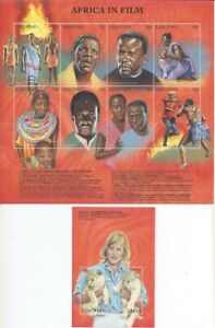 Lesotho 1998  Africa in Films 8 Stamp Sheet + Stamp S/S 12E-020