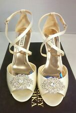 NEW 8 Badgley Mischka Abigail Women's Ivory Satin Sandal Wedge Heels Bridal Shoe