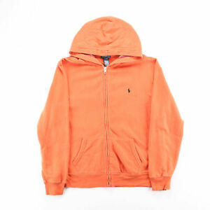 Vintage POLO RALPH LAUREN  Orange Classic Zip Up Hoodie Boys XL