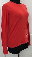 Lucy Women Red Orange Cotton Knit Top SZ L Stretchy Long Sleeve Crew Neck Floral