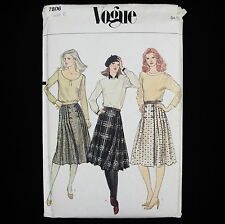Vintage 70's Vogue Front Wrap Pleated Skirts Sewing Pattern 7806 size 6 waist 23