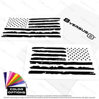 """Distressed Ripped American Flag USA decals 65/"""" fit Jeep Mustang Dodge Ford F-250"""