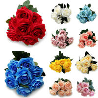 10-Head Artificial Rose Bouquet Silk Fake Flowers Wedding Party Home Decoration