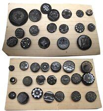 39 Vintage Victorian Black Glass Shank Buttons