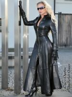 Ledermantel Leder Mantel Schwarz Knöchellang Figurbetont Maßanfertigung