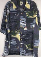 Original Island Sport Hawaiian Aloha shirt XL Blue Palm Trees Island Sail Boat