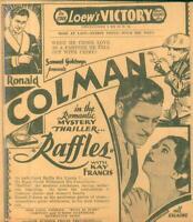"Clipping-Newspaper Movie Ad Romantic Mystery Thriller ""Raffles"" Ron Colman 1930"