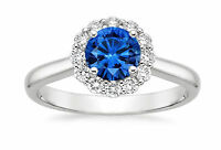 Natural 1.63 Ct Round Diamond Blue Sapphire Ring 18K White Gold Gemstone Ring