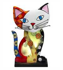 Small Funky Picasso Cat Novelty Table Lamp Capriz Shells & Metal