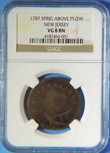 Rare 1787 Sprig Above Plow New Jersey Nova Colonial Copper One Cent NGC VG8