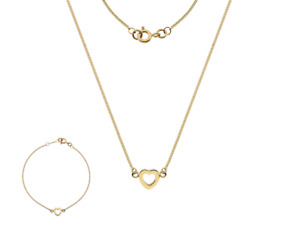 9 ct gold Heart Necklace & Bracelet Set. Made in England by Curteis. NEW. Boxed
