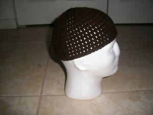 DARK BROWN Adult Handmade Crochet Muslim Koofi Kufi Hat Cap Islamic Beanie Biker
