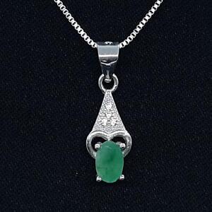 Genuine .52ctw Colombian Emerald & Diamond Cut White Sapphire 925 Silver Pendant