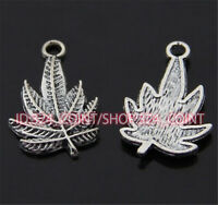 P329B 50pc Tibetan Silver leaves Charm Beads Pendant accessories wholesale