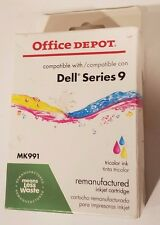 DELL SERIES 9 TRICOLOR INK REMANUFACTURED OFFICE DEPOT CARTRIDGE NEW NIB MK991