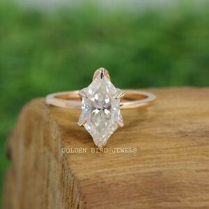 3 CT Dutch Marquise Cut Moissanite Rose Gold Solitaire Engagement Ring For Her