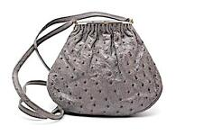 """Made in Italy Charcoal Gray Genuine Ostrich Shoulder Handbag-9""""w x 7""""h-Amazing"""