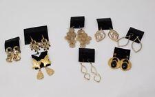Lot of 8 Pierced Earrings Gold Toned Dangle Chandelier Spiral Wings Pilot