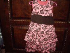 EUC Girls Size 5-6 Kelly's Kids Joann Summer Dress Pink Brown 3 Tiers Sibling
