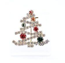 Gablonz Strass Brosche Tannenbaum Weihnachtsbaum Baum Brooch Christmas Tree