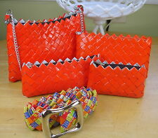 Recycled Candy Wrapper 4 Sizes PURSE SET w/BELT Color ORANGE Gift Set