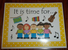 Single laminated Daily Activity Class Poster Sign. It is Time For Music 8.5 x 11